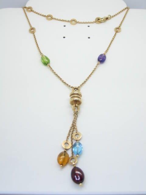 bulgari bzero1 yellow gold 18carat color gemstones necklace ref cl854509