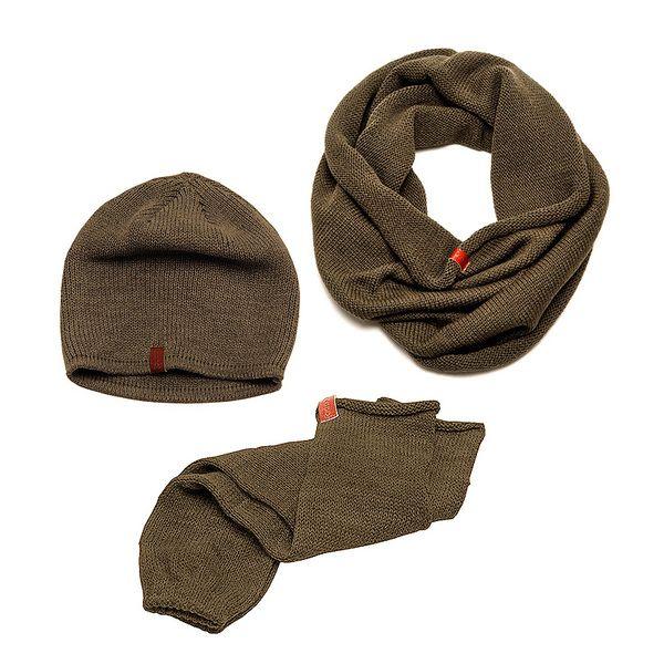 Zestaw Komin Czapka Rękawki Getry KHAKI w CADO accessories na DaWanda.com