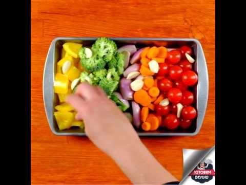 (206) Запеченная курица с радужными овощами - YouTube