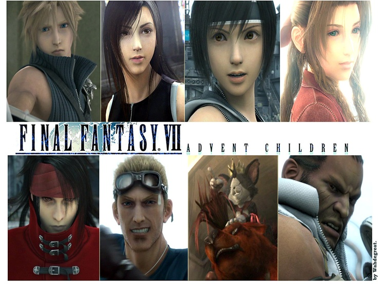 Cloud Tifa Yuffie Aerith Vincent Cid Red Xiii Cait Sith And Barret 3 Final Fantasy Final Fantasy Advent Children Advent Children