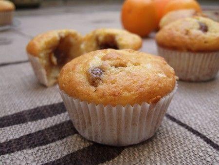 Muffins aux zestes d'oranges, coeur crème de marrons