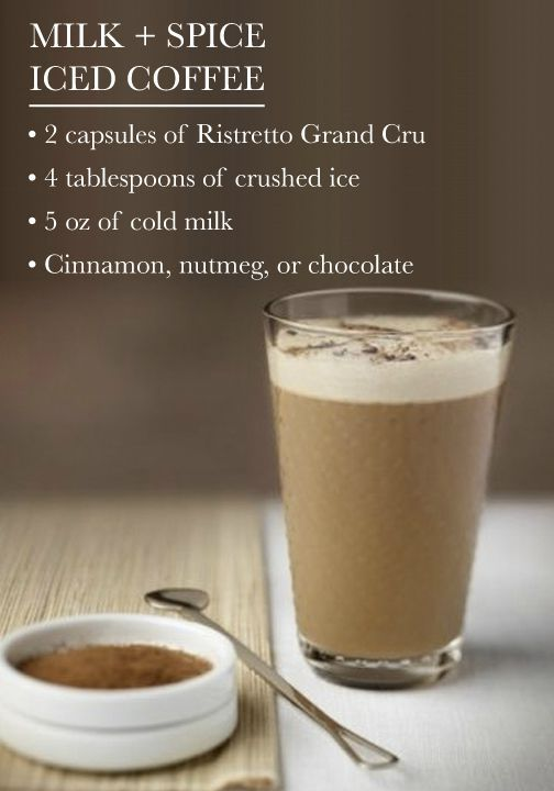 Milk and Spice Iced Coffee | Ristretto Grand Cru and ice-cold milk combine beautifully for one exotic afternoon treat! Don't forget to top this delicious drink recipe with cinnamon, nutmeg, or chocolate shavings.