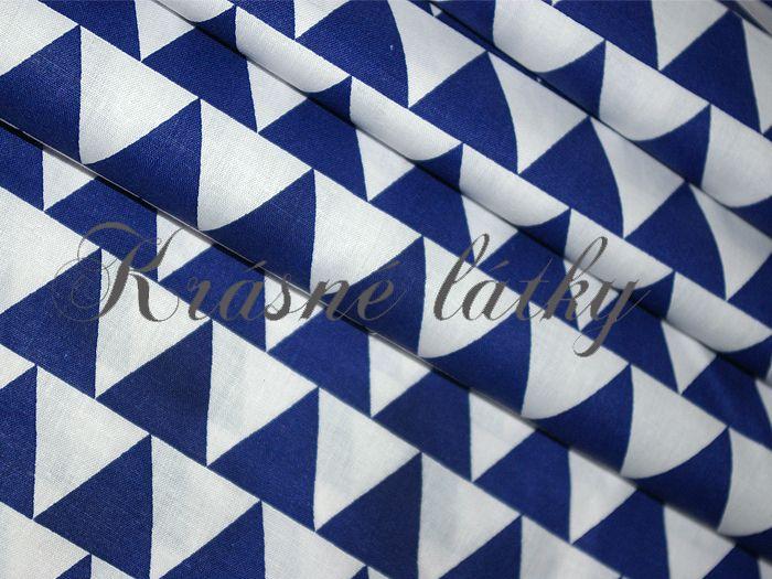 Modrá pyramida š.160cm 100%bavlna 140gr m2,hladké příjmné plátno