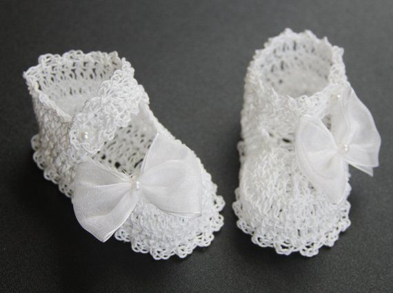 Christening White Crochet Booties Shoes Hand Knit Newborn Infant Girls Baptism