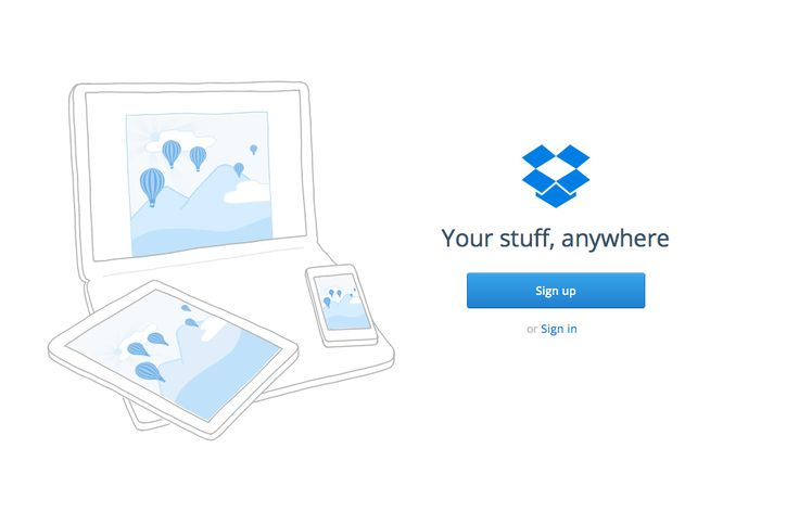 It's not always easy to clearly communicate what your business is about in a short, concise elevator pitch. That's where simplified design comes in handy- Dropbox's graphics are the perfect example of that.