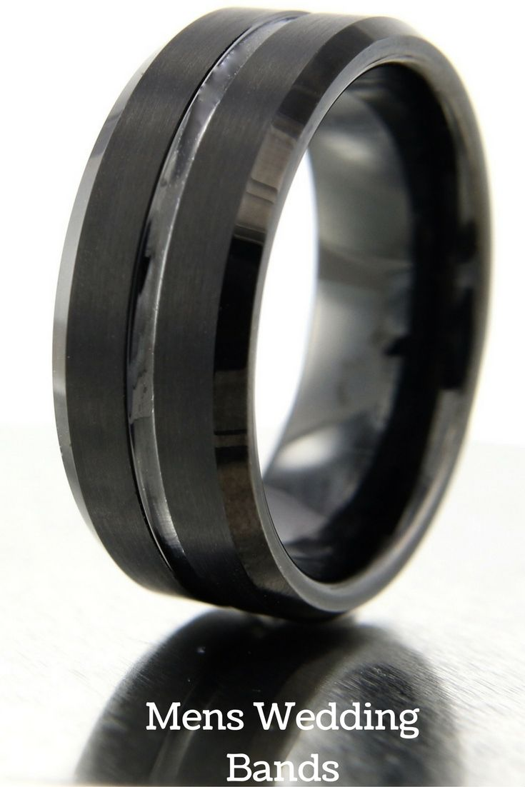 8mm black tungsten wedding band with polished center channel satin top - All Black Wedding Rings