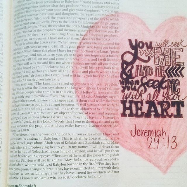 Day 14 of the Challenge: Jeremiah 29:13 Thank you @brittcorbitt for sharing your journaling art. I am absolutely draw to her use of different fonts, it causes me to really focus on the verse and helps me to ponder what it means.  📷: @brittcorbitt