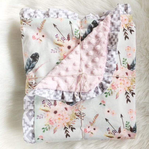 Bohemian Floral and feathers with Aztec ruffle cotton and minky baby girl blanket handmade by Dot Dot Baby. Boho woodland nursery crib blanket girl baby shower Etsy spoonflower