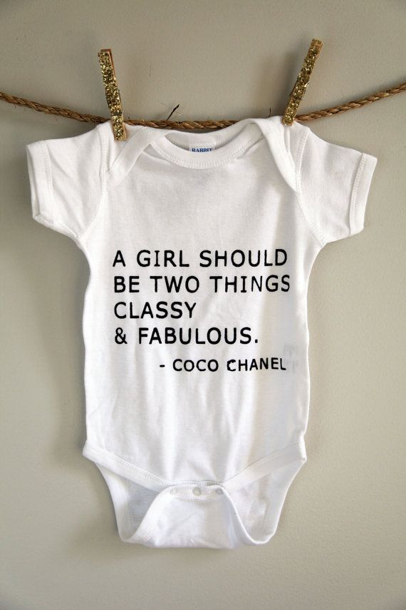 a girl should be two things  coco chanel onesie  size 6