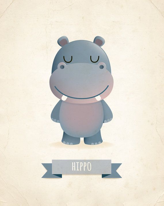 Hippo art print, nursery art, illustration, animal art, kids room decor…