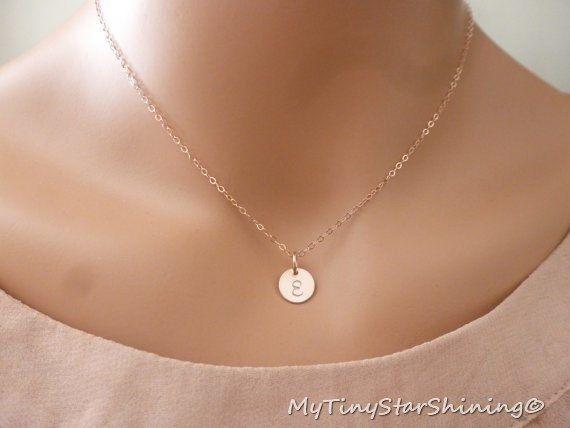 Rose Gold Initial Necklace Monogram Letter by MyTinyStarShining, $26.00