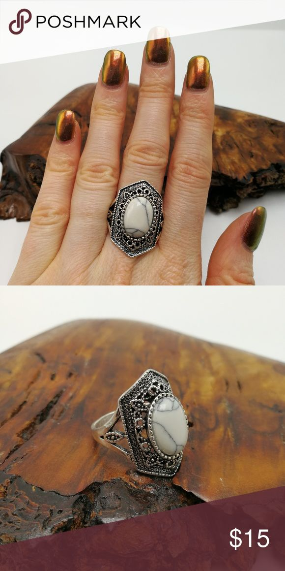 White Turquoise Howlite silver vintage New with Tags. Gorgeous Natural Gemstone Buffalo Turquoise howlite Tibet Silver ring. Mixed Metals. Lead & Nickel free. No trades or holds. Price is firm. Bundle to SAVE. R#2879 PLUS SIZE Jewelry Rings
