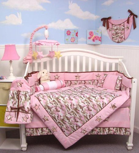 Here is a complete nursery bedding set with 13 pieces. Makes a nice gift for a newborn since it includes everything including a diaper bag. SOHO Pink Camo Baby Crib Nursery Bedding Set 13 pcs included Diaper Bag with Changing Pad & Bottle Case  