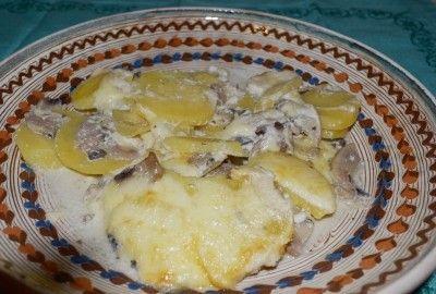 Gratin cu ciuperci si cartofi