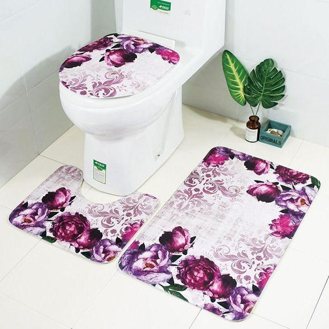 Zeegle Floral 3pcs Bathroom Mat Set Anti Slip Bathroom Floor Rugs