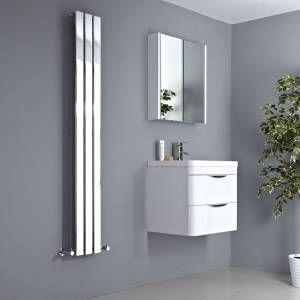 This chrome designer radiator looks great in a bathroom setting