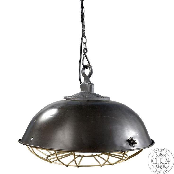Alte Fabriklampe In Poliertem Eisen