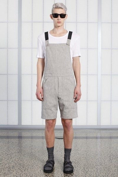 s/s 13/14 mens key looks - M05. dungarees in canvas, phys-ed tee in white waffle, space cadet tinted eyewear.