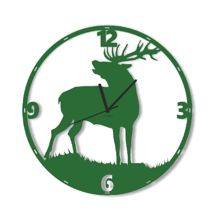 Dekoracyjny zegar ścienny Urlik Design Jeleń, zielony ◾ ◾ PrezentBox