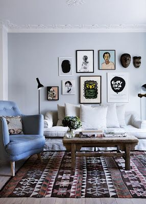 """I like the idea of having a """"potrait wall"""", with paintings, photographs and masks."""