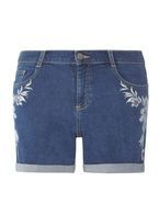 Womens Blue Tropical Embroidered Denim Shorts- Blue