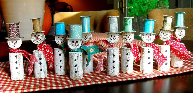 Wine Cork Snowman- Use a cork for the body and a sliced up cork for the head. A toothpick or metal pick to fix the two together. To make the hat use some construction paper or even a small empty yarn spool. Paint and decorate.