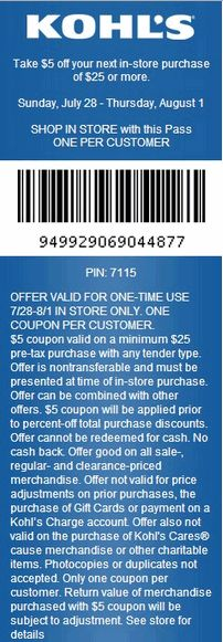 $5 OFF Kohl's Printable Coupon