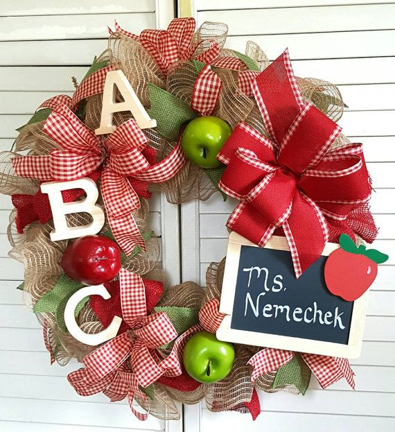 Back to School Wreath-Teacher by TinasDecoMeshWreaths on Etsy