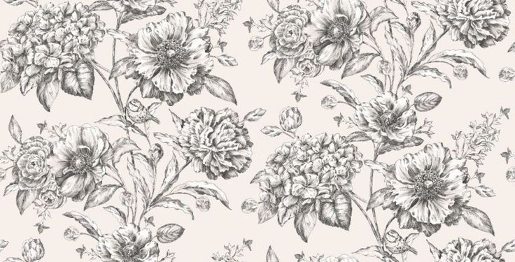 Cordelia Black & White (97834) - Albany Wallpapers - A bold floral trailing wallpaper with fine metallic detailing and small garden birds. Shown here in metallic black and white. Other colourways are available. Please request a sample for a true colour match. Paste-the-wall product.
