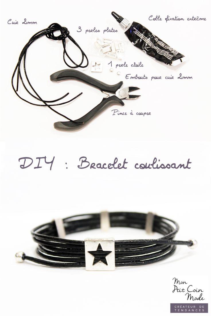 DIY Tutoriel Bracelet coulissant en cuir