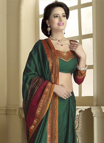 Tamanna 2006 - Forest Green and Dark Red Daily Wear Traditional Cotton Saree