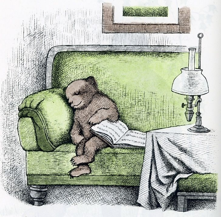 An illustration from Else Holmelund Minarik's Little Bear's Visit, from the line of Little Bear children's books published by Harper & Brothers, United States, 1961, by Maurice Sendak.