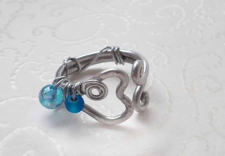 Türkis Blau Silber Elfenprinzessin Herz-Glas Acryl-Ring Nickelfrei/Liebe Love
