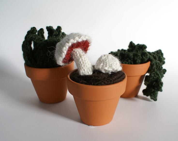 Knitted Plant Set of Three: Mini Mushrooms, Dark Green Leaves, Overhanging Tendrils. $85.00, via Etsy.
