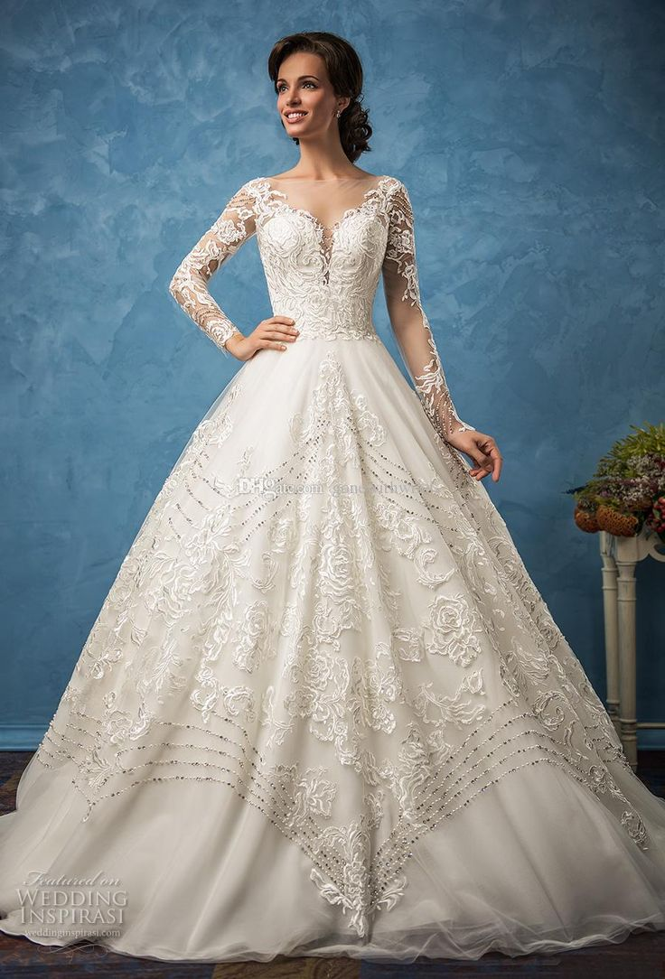 Long Sleeves Princess Ball Gown Wedding Dresses 2017 Amelia Sposa Bridal Sweetheart Neckline Full Embellishment Illusion Back Royal Train Wedding Dress Hire Wedding Dress Outlet From Gonewithwind, $301.51| Dhgate.Com