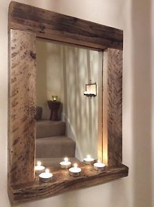 Wooden Wood Mirror With Shelf Handmade Reclaimed Pine Rustic