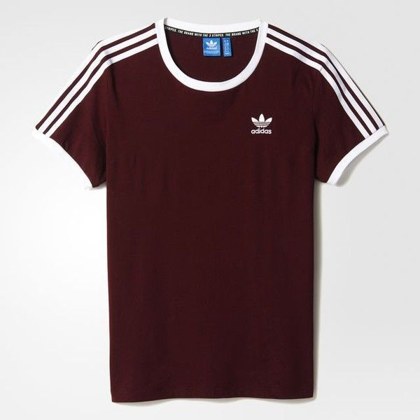 adidas 3-Stripes Tee - Brown | adidas US ($30) ❤ liked on Polyvore featuring tops, t-shirts, adidas t shirt, adidas top, stripe tee, brown tee and striped tee