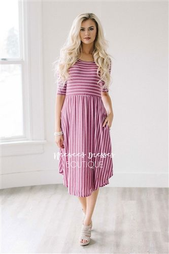 Dark Pink White Stripes Pocket Modest Dress Bridesmaids Dress, Church Dresses, dresses for church, modest bridesmaids dresses, trendy modest dresses, modest womens clothing, affordable boutique dresses, cute modest dresses, mikarose, best modest boutique