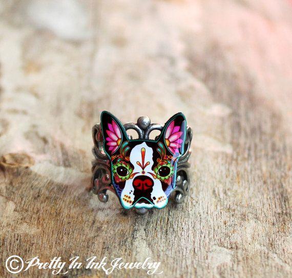 Day of the Dead Boston Terrier Sugar Skull Dog Adjustable Ring on Etsy, $14.95