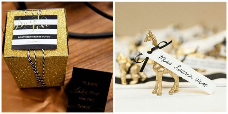 Baby Shower In Black White and Gold Chic Original Sophisticated Souvenirs Gift Painted Animals