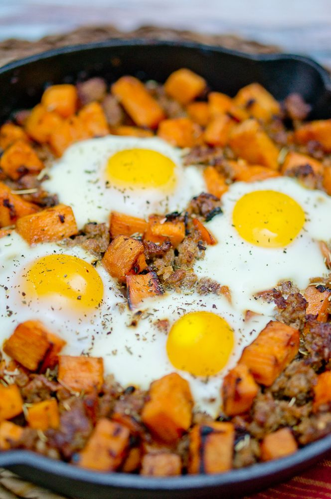 Sweet potato hash with sausage and eggs is the perfect brunch recipe. It is also a great breakfast-for-dinner recipe. Ready in less than 30 minutes, and amazingly delicious! Paleo, gluten-free meal.  www.deliciousmeetshealthy.com