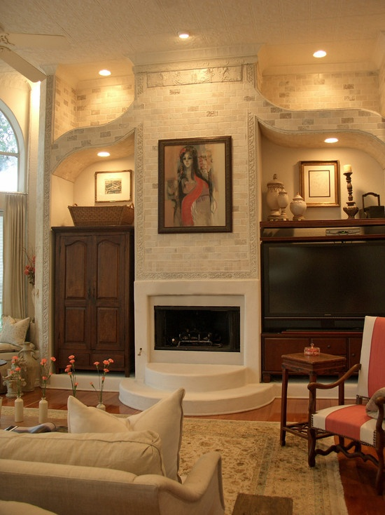 Asymmetrical Mediterranean Spaces Fireplace Decorating Design