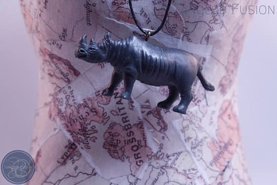 Quirky Handmade Adjustable Animal Necklace on Leather  Design: Rhino      Tangled Fusion offers a wide scope of quirky, fun jewellery and handmade creations.  https://www.etsy.com/au/listing/524266582/quirky-handmade-adjustable-animal?ref=shop_home_active_4