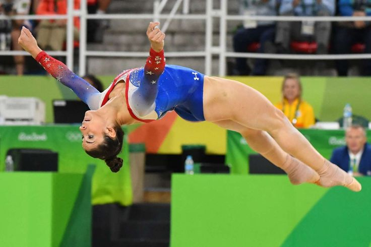 Aly Raisman (USA) competes during to the women's floor exercise final in the Rio 2016 Summer Olympic Games at Rio Olympic Arena.