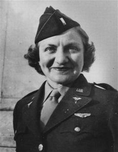 """1st Lt. Aleda E. Lutz volunteered with the unit inaugurated by Elsie Ott, to carry wounded soldiers quickly away from the front. Lutz flew 196 missions to evacuate more than 3,500 men. No other flight nurse logged as many hours. In Dec. 1944, her C47 hospital plane crashed, with no survivors."""