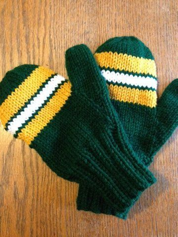 Adult Mittens  Styled after Green Bay Packer Uniform by NanasKnits