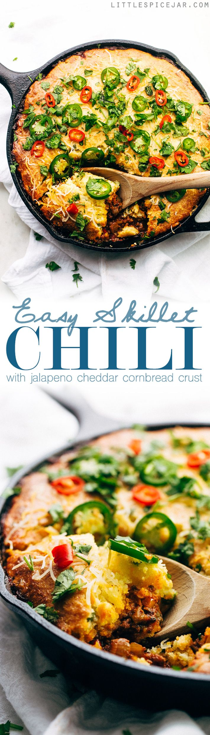 Skillet Chili with Jalapeño Cheddar Cornbread Crust - A simple chili and cornbread recipe that takes about an hour to make and had the cornbread baked right on top! #cornbread #chili #skilletchili #comfortfood   Littlespicejar.com