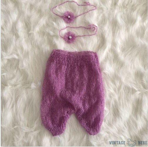 Newborn Mohair Pants and Flower Headdress