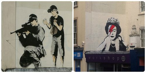 Banksy then and now on Park Row