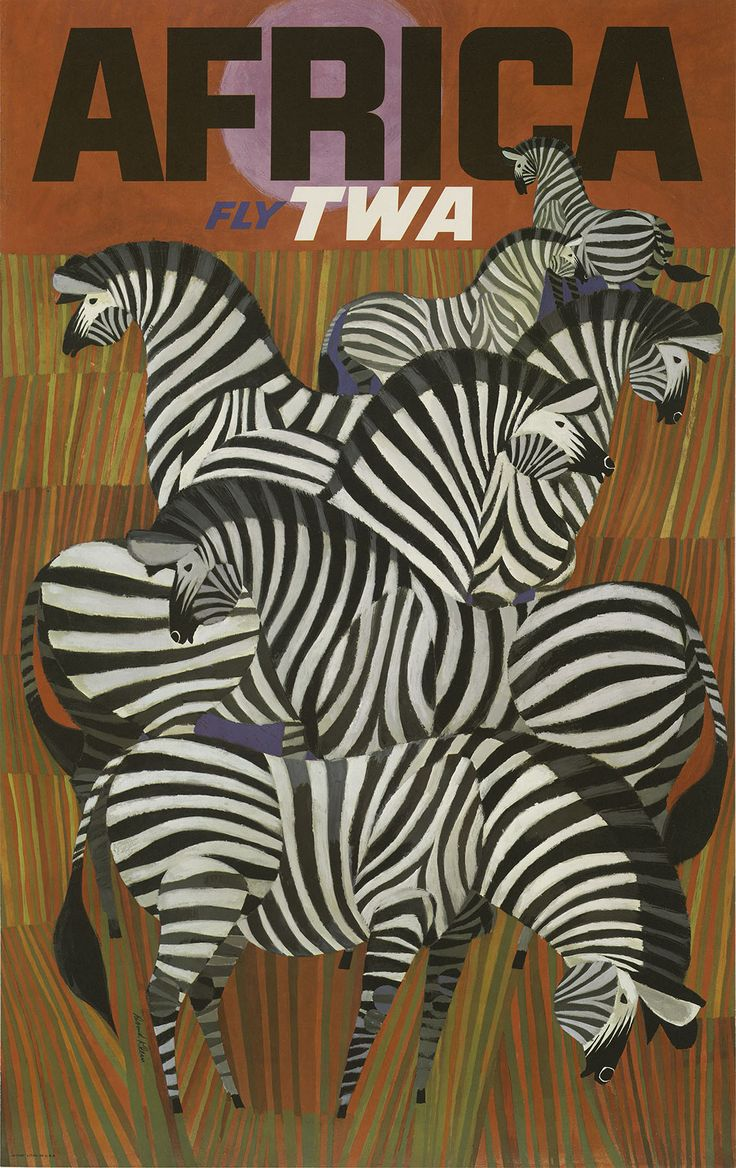 Poster design w graff - Trans World Airlines Fly Twa Africa Zebras Vintage Airline Travel Poster By David Klein Fine Art Print X